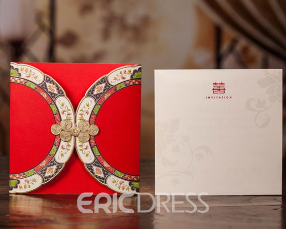 Classic Design Red Wrap & Pocket Invitation Cards (20 Pieces One Set)