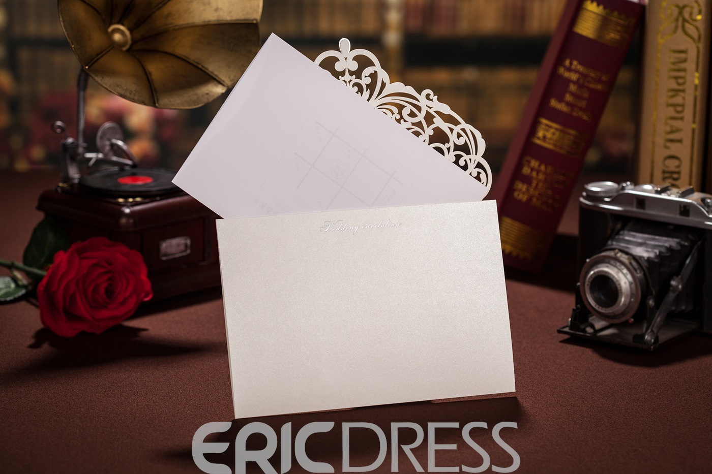 Floral Side Fold Invitation Cards (20 Pieces One Set)