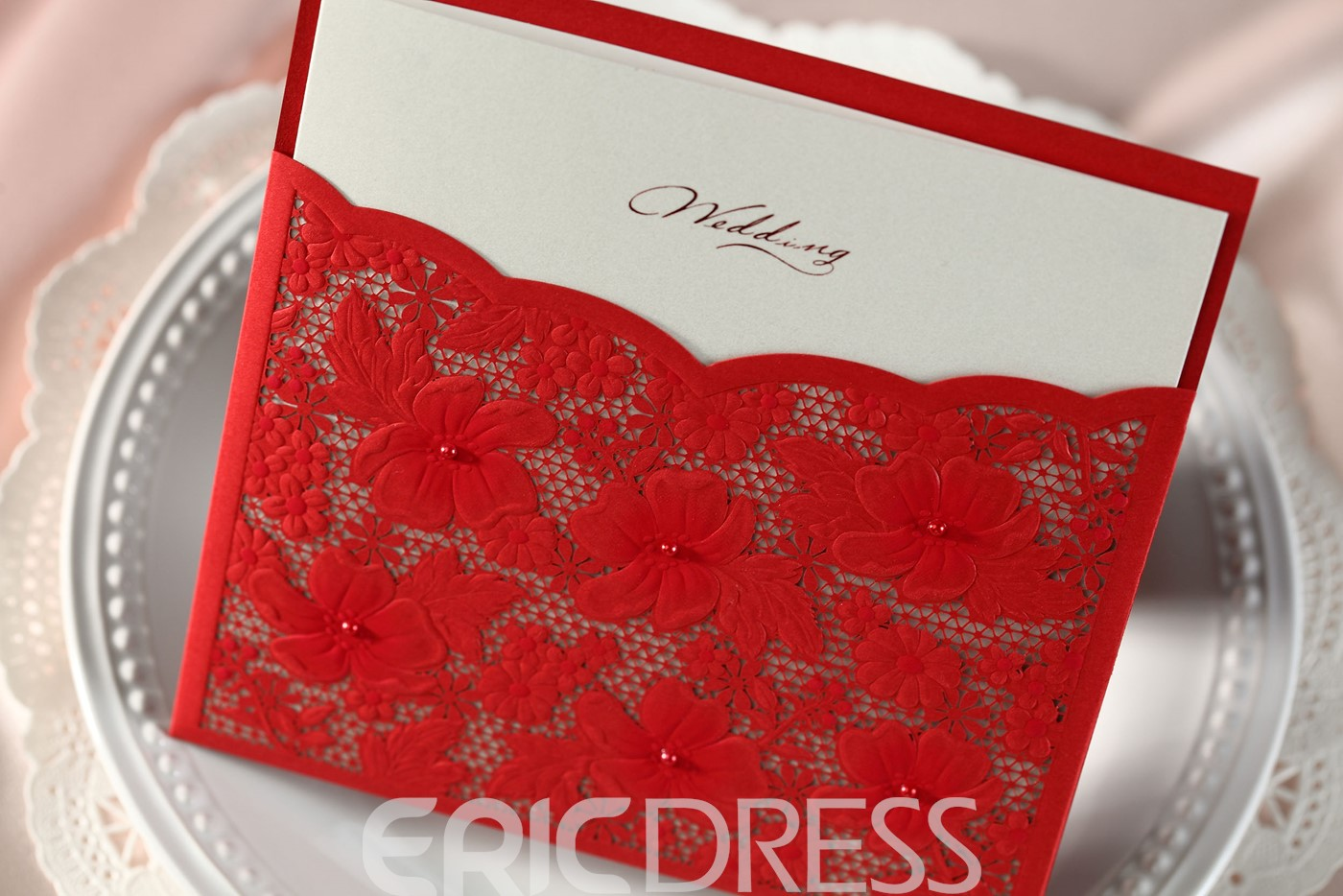 Red Floral Wrap & Pocket Invitation Cards (20 Pieces One Set)