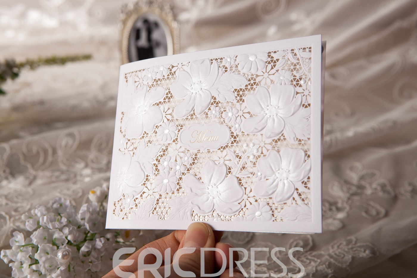 Personalized Floral Pearl Paper Invitation Cards (20 Pieces One Set)