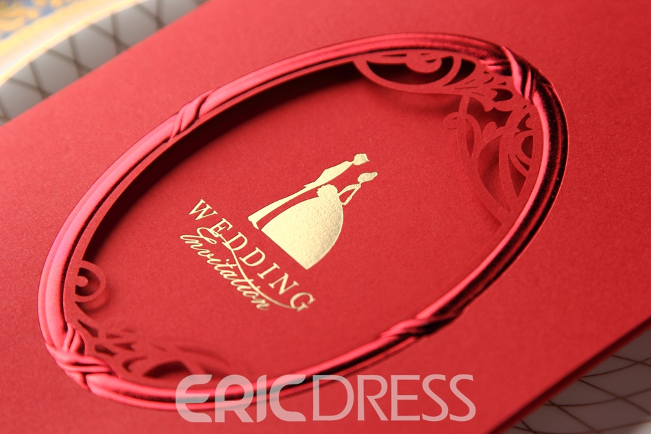Classic Wrap & Pocket Red Wedding Invitation Cards (20 Pieces One Set)