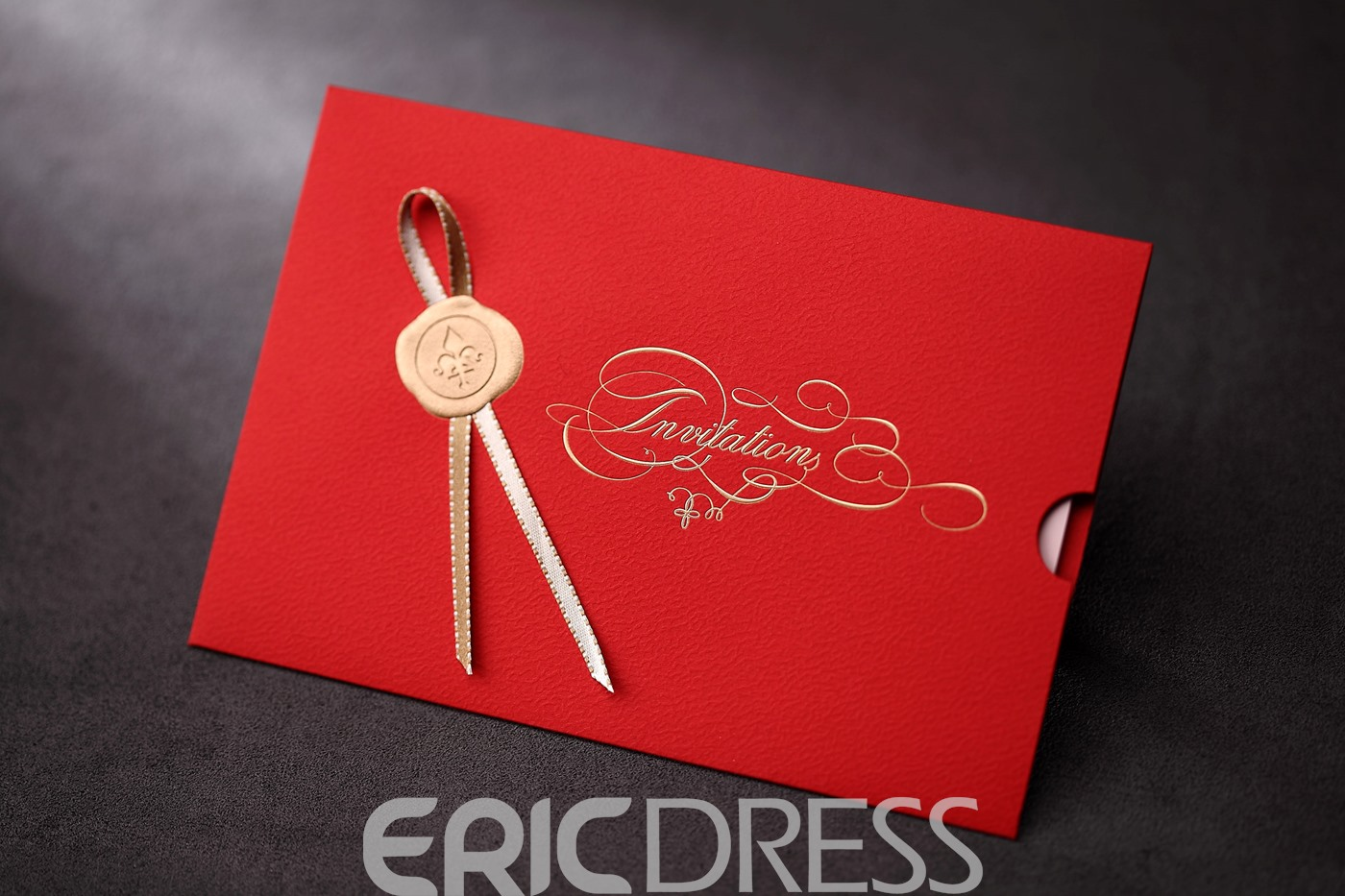 Classic Wrap & Pocket Wedding Invitation Cards With Ribbons (20 Pieces One Set)