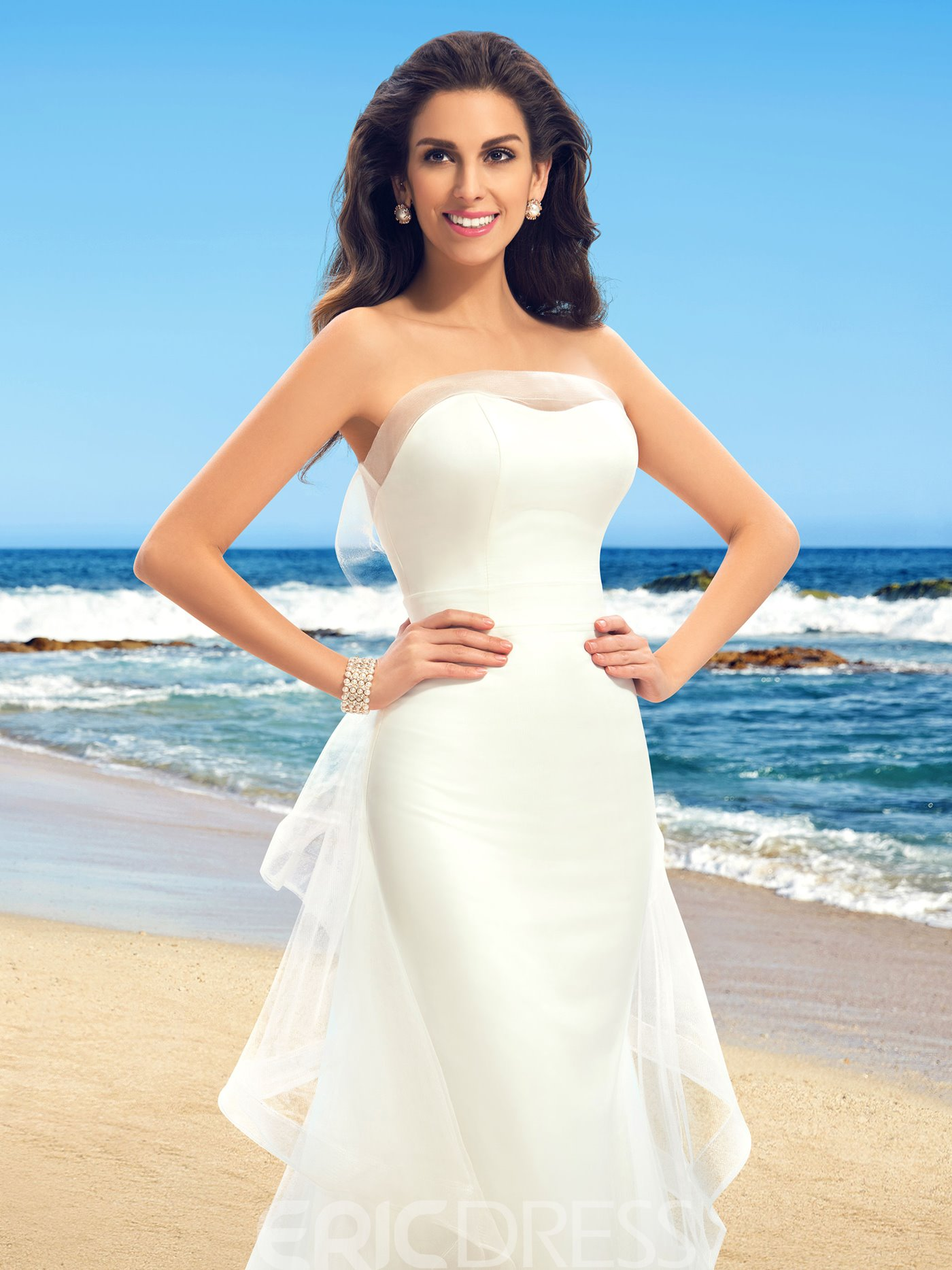 Fantastic Strapless Ruffles Sleeveless Mermaid Wedding Dress