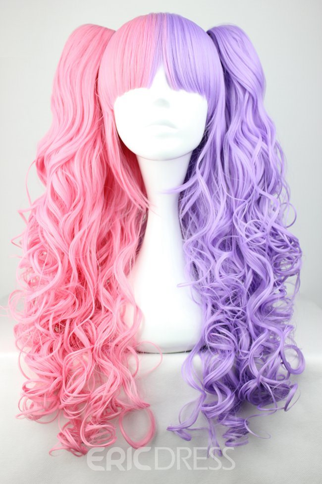 Ericdress Cosplay Costume Wigs Curly Pink&Purple Synthetic Wigs Capless Wigs for Party 28Inches