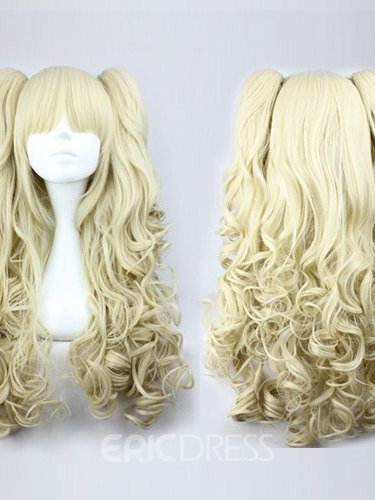 Ericdress Cute Lolita Long Curly Blonde Synthetic Hair Cosplay Wigs 28 Inches