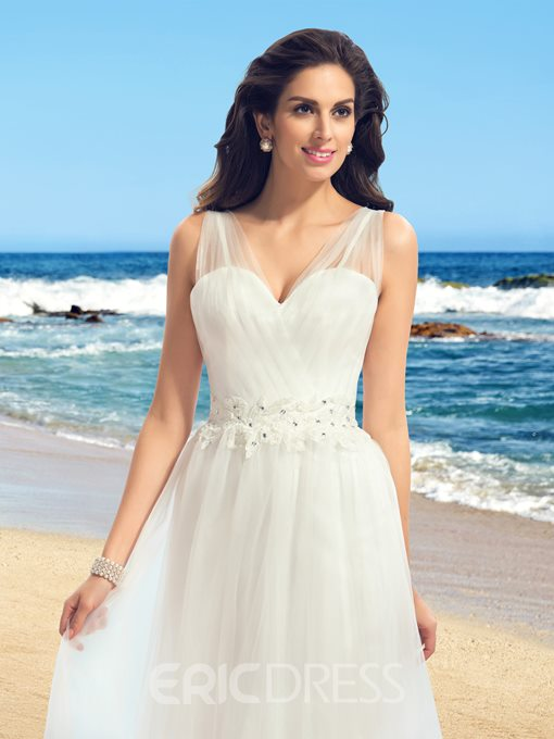 Ericdress Straps Appliques Beading Beach Wedding Dress