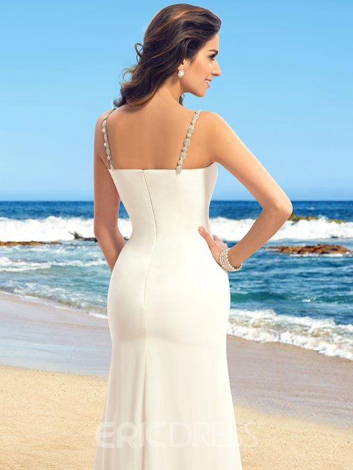 Simple Straps V-Neck Ruffles Wedding Dress
