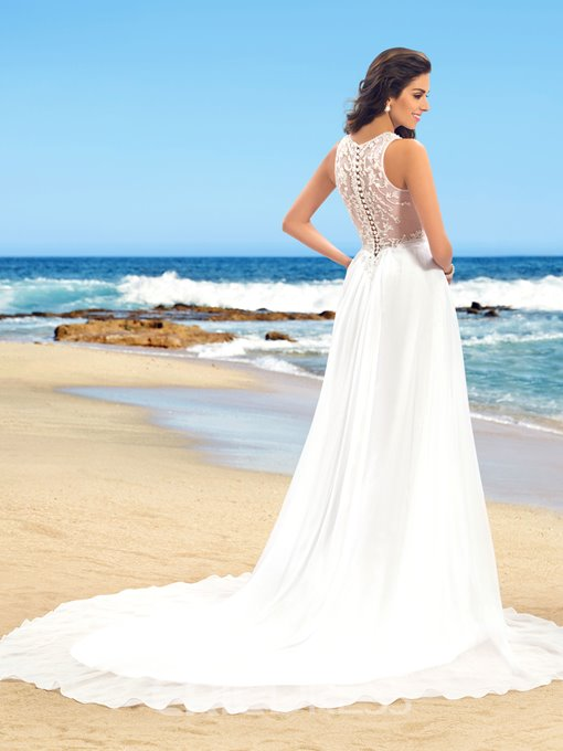 Ericdress V-Neck Button Beading Beach Wedding Dress