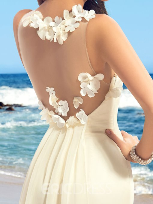 Simple Flower Applique Mermaid Wedding Dress