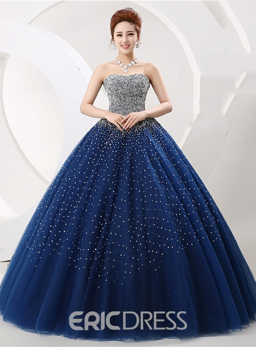 Ericdress Luxurious Vintage Strapless Beading Lace-Up Ball Gown Dress