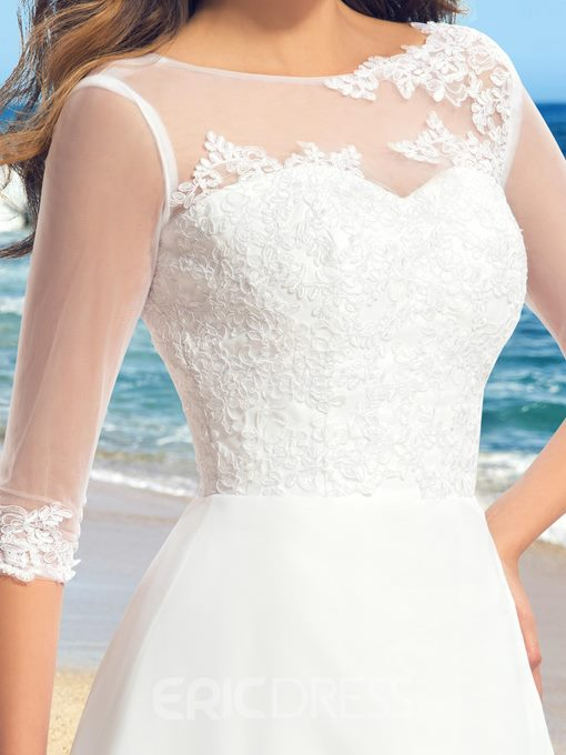 Delicate Applique A-Line Zipper-Up Sweep Wedding Dress