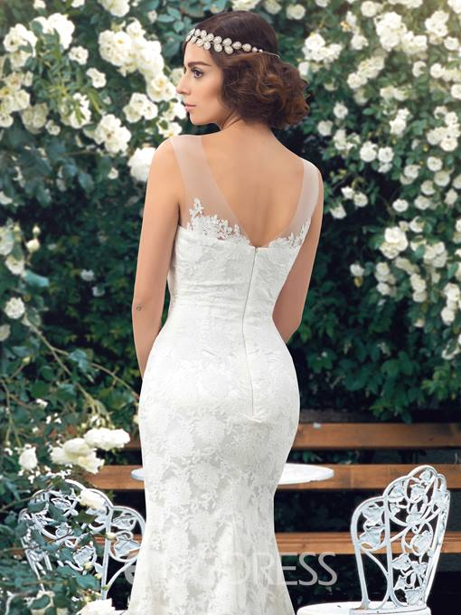 Simple Scoop Sweep Train Mermaid Lace Wedding Dress