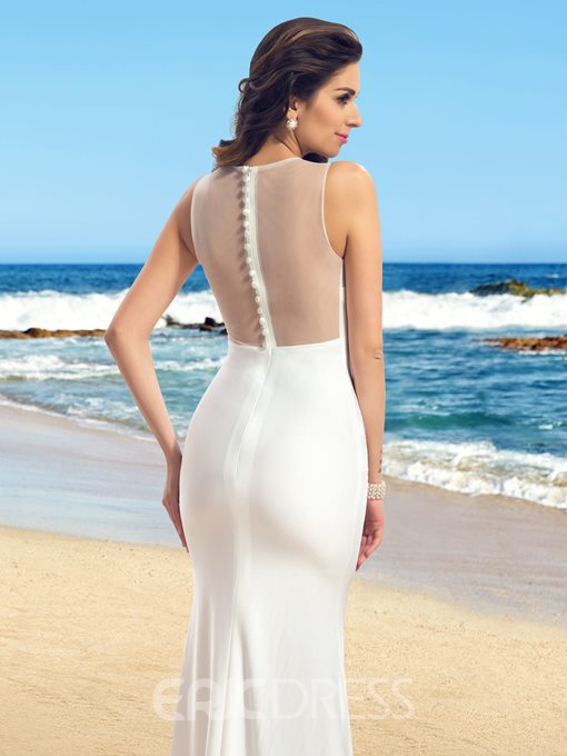 Concise Sleeveless Sheer Back Mermaid Wedding Dress