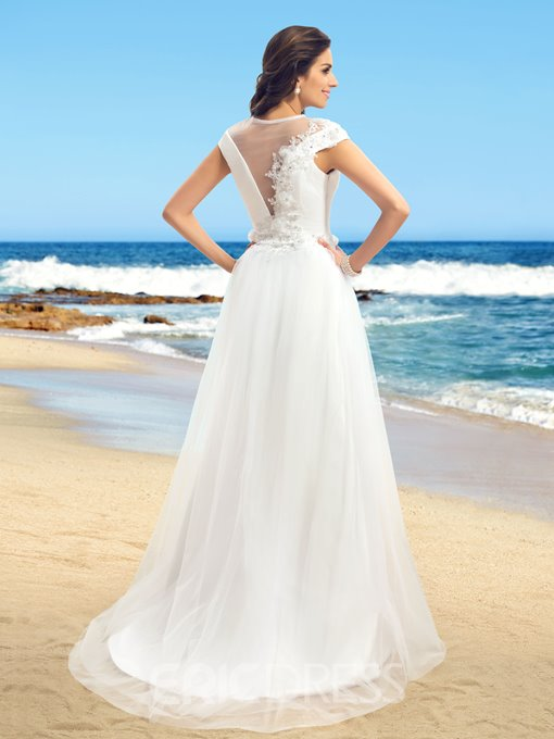 Ericdress Jewel Neck Cap Sleeves Appliques Wedding Dress