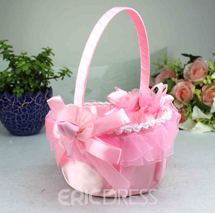 Pink Flower Basket in Satin & Lace With Bow