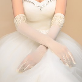 Classic Beaded Lace Edge Ivory Long Sleeve Wedding Gloves