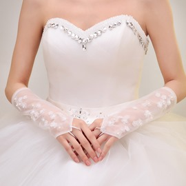 Pearl Appliques Ivory Fingerless Wedding Gloves
