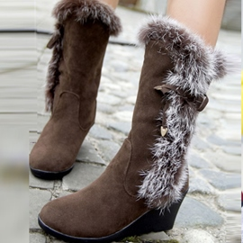 Pretty Fur Bowknot Wedge Heel Snow Boots
