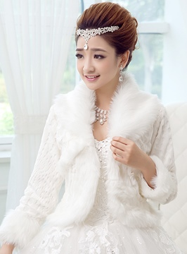 Fur Long Sleeves Wedding Jacket