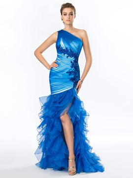 Glamorous One-Shoulder Side-Split Mermaid Evening Dress