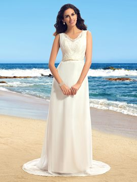 Simple V-Neck Sleeveless Sweep Train Wedding Dress