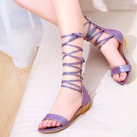 Roman Sexy Lace-up Flat Sandals