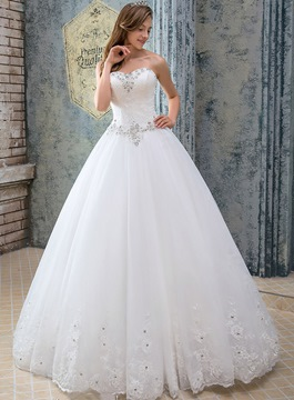 Ericdress Sweetheart Beading Lace Wedding Dress