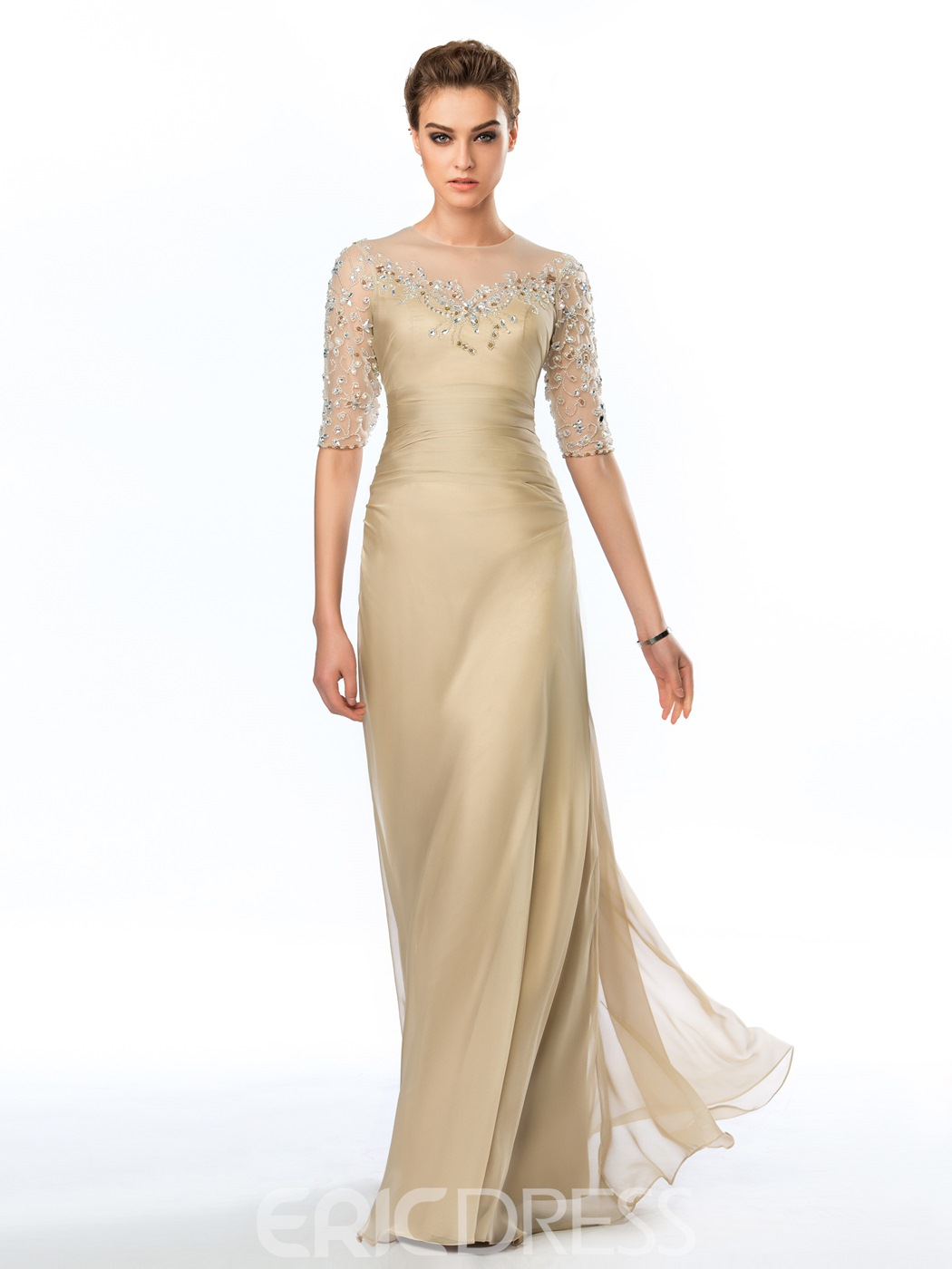 Delicate Sheer Half Sleeves Appliques Long Evening Dress 11229075 ...