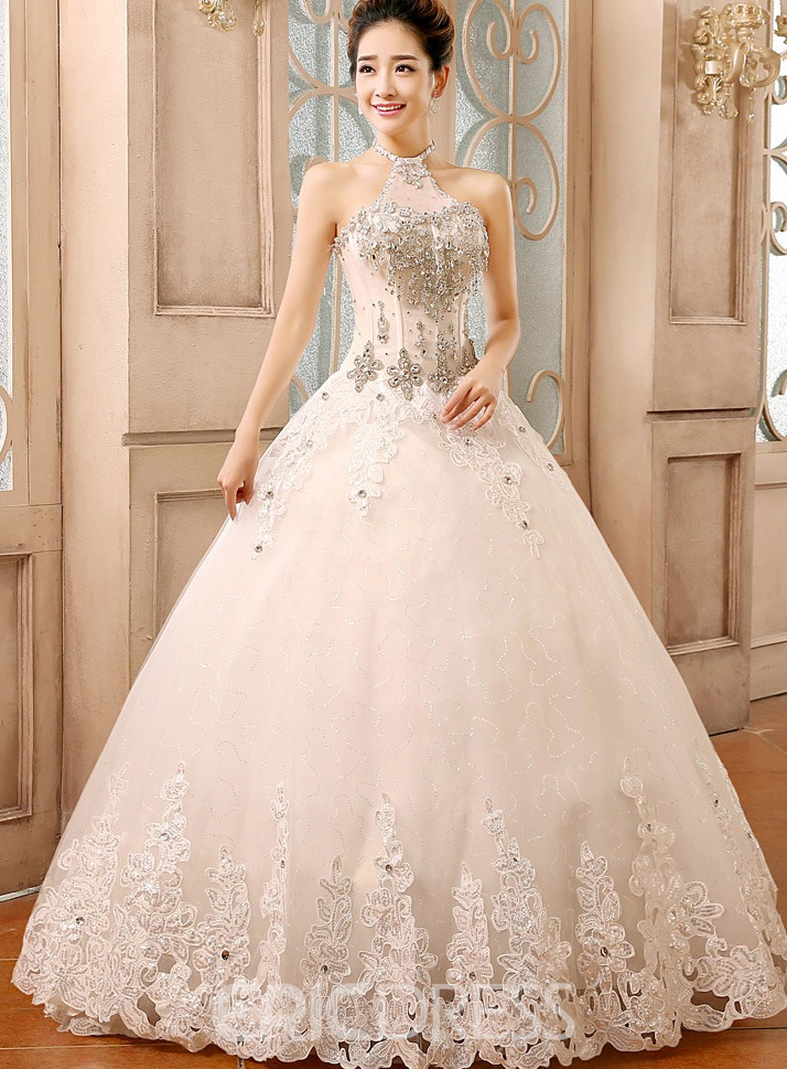 Halter Rhinestone Ball Gown Wedding Dress 11226313 - Ericdress.com