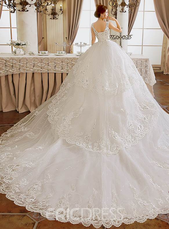 Classy V-Neck Appliques Cathedral Wedding Dress