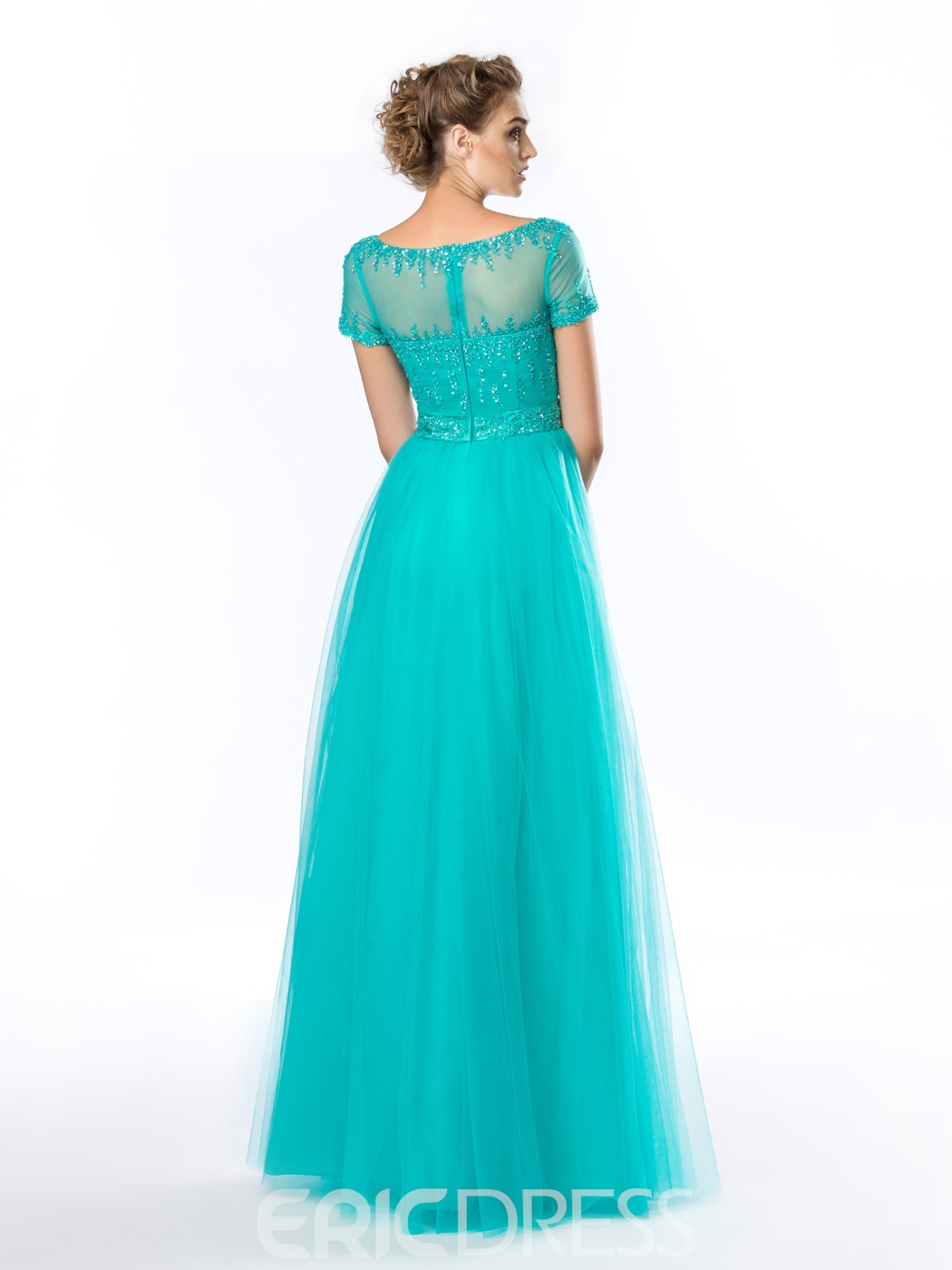Classy A-Line Bateau Beading Short Sleeves Evening Dress