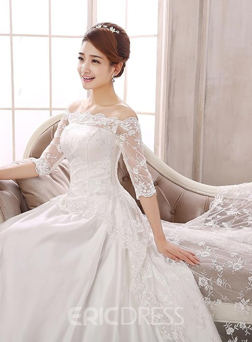 Unique Off the Shoulder Lace Wedding Dress with Sleeves