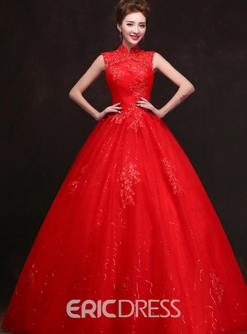 Vintage High Neck Appliques Ball Gown Wedding Dress