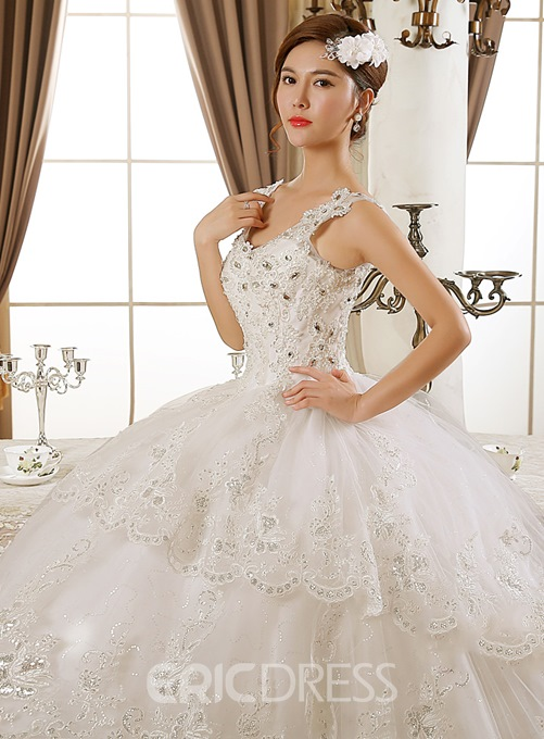 Classy V-Neck Appliques Cathedral Train Wedding Dress