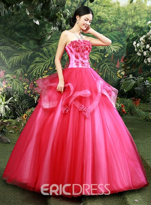 Delicate Strapless Floor-Length Ball Gown Quinceanera Dress
