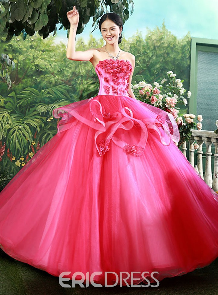 0b38bd0f416 Delicate Strapless Floor-Length Ball Gown Quinceanera Dress ...