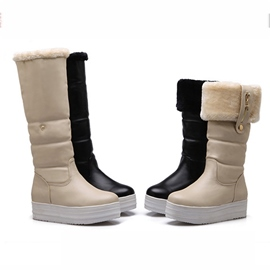 Solid Color Furry Boots