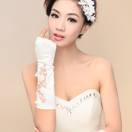 Classic Beaded Appliques Fingerless Long Wedding Gloves