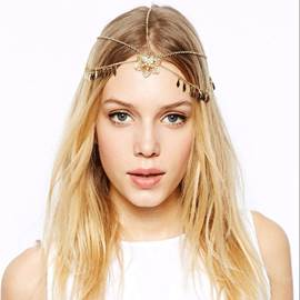 Boho Golden Paillette Cutout Flower Pendant Hair Band for Women