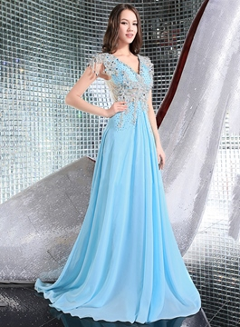 Fancy Sheer Back V-Neck Appliques A-Line Evening Dress