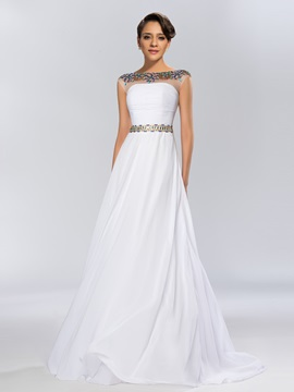Classy A-Line Bateau Beaded Chiffon Evening Dress
