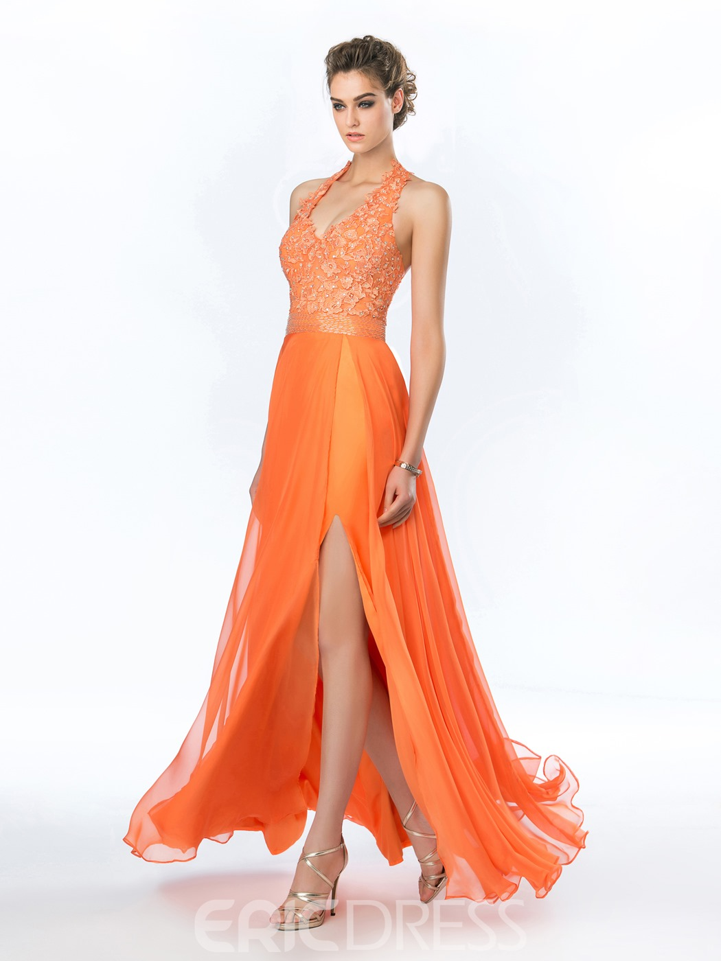 Sweet Halter A-Line Beadings Split-Front Prom Dress