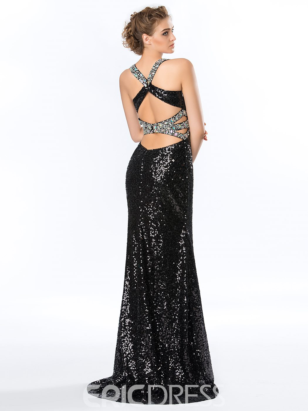 Sexy Mermaid Straps Sequins Beadings Evening Dress
