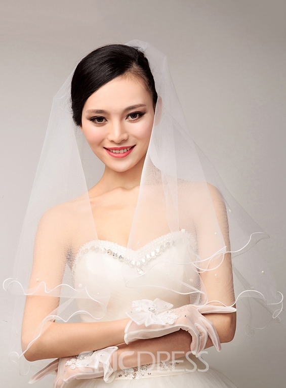 Concise Beading Wedding Veil