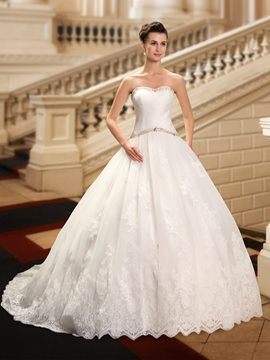 Appliques Strapless Beading Ball Gown Wedding Dress