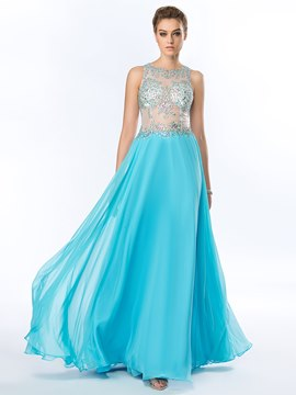 Sexy Sicke Pailletten a-Linie Chiffon Stock Länge Prom Dress