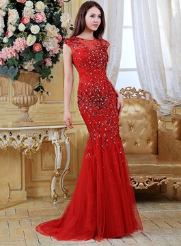 Stunning Cap Sleeves Sweep Train Mermaid Evening Dress