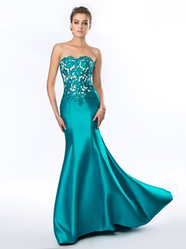 Delicate Sweetheart Strapless Appliques Beading Mermaid Evening Dress