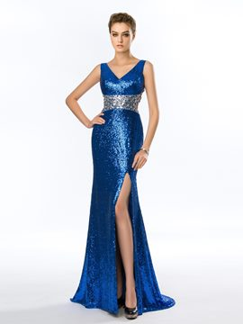 Sexy Sheath V-Neck Sequins Split Front Evening Dress