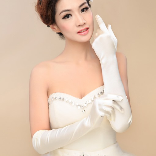 Classic High Quality Stain Long Ivory Wedding Gloves